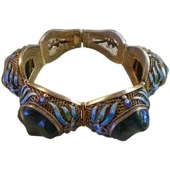 1920's CHINESE Cloisonne and Malachite Sterling Filigree Link Bracelet