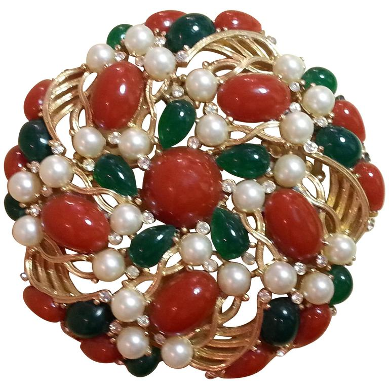 1960's TRIFARI Kashmir Faux Coral Emerald Pearl Large Circular Brooch For Sale