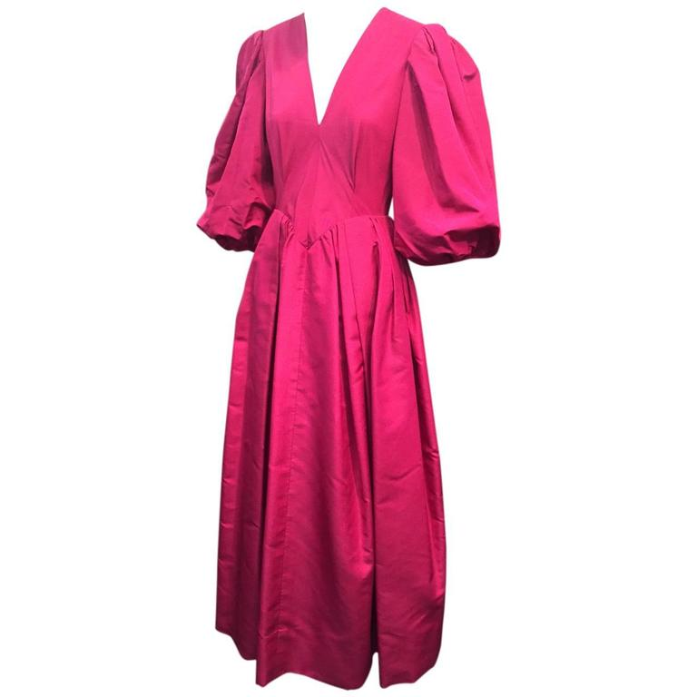 1970s Pauline Trigere Fuchsia Silk Faille Evening Gown with Balloon Sleeves