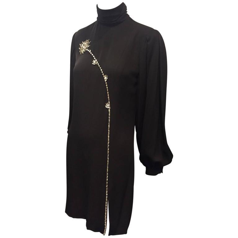 1980s James Galanos Black Silk Crepe Mini Dress w/ Rhinestone Flower and Slit