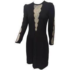 1970s Adolfo Black Knit Cocktail Dress w/ Deep Sheer and Rhinestone Panels