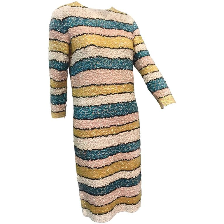 1960s Imperial Wool Knit Striped Sequin Cocktail Dress in Easter Pastels