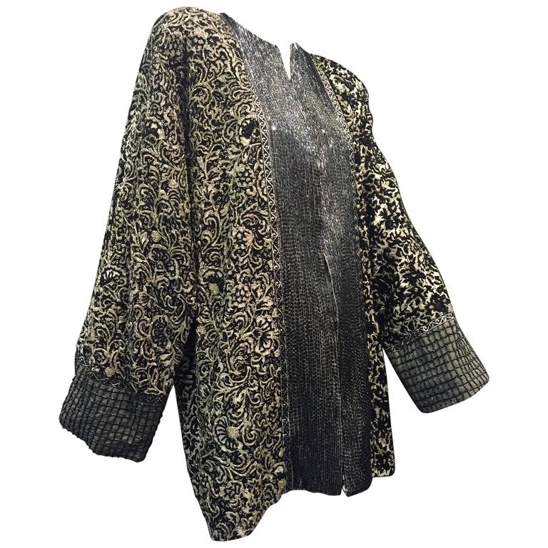 1980s Galanos Dolman Sleeved Heavily Beaded Black/White Floral Evening Jacket For Sale