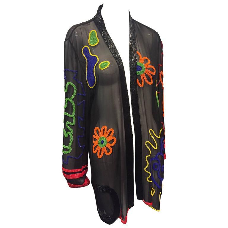 1980s Fabrice Silhouette Silk Chiffon Jacket with Bead Graffiti Motifs