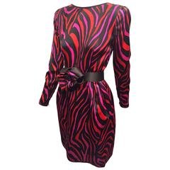 1980s Stanley Platos - Martin Ross Red Fuchsia and Black Zebra Silk Satin Dress