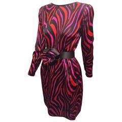 1980s Stanley Platos - Martin Ross Red Fuchsia and Black Zebra Silk Satin Dress