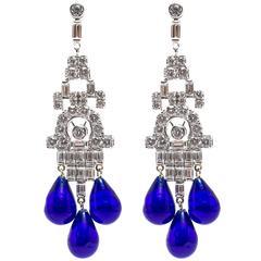 Faux Diamond Sapphire Art Deco Style Chandelier Earrings