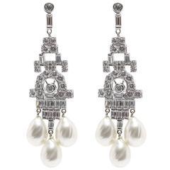 Faux Diamond Pearl  Art Deco Style Chandelier Earrings
