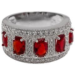 Faux Diamond Ruby Band Cocktail  Ring