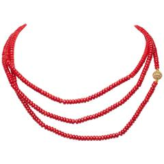 Wrap Around Four Feet Long Faux Man  Made Coral 5MM Bead Chain Necklace