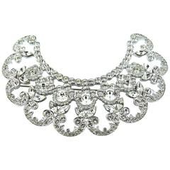 Christian Dior Lovely Floral Diamante Crescent Brooch