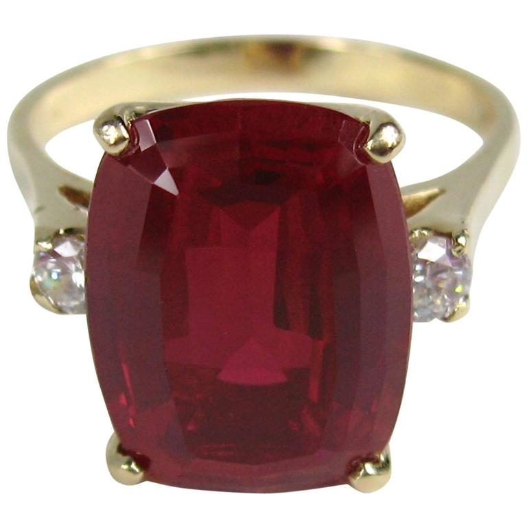 Stunning 1950's 14K Gold Diamond Ruby Ring  For Sale