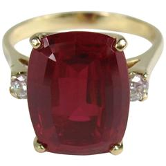 Stunning 1950's 14K Gold Diamond Ruby Ring