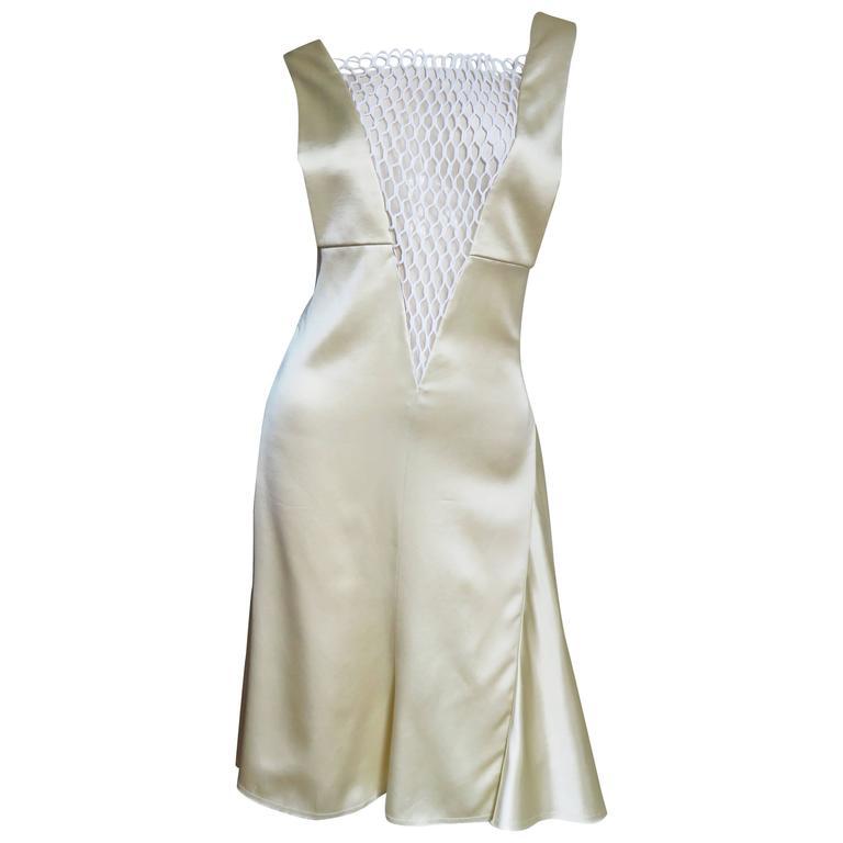 2000s Celine Deep Plunge Silk Dress
