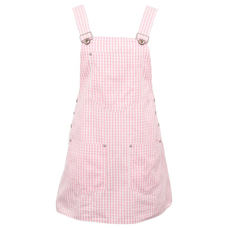 Versace Jeans Couture Pink Plaid Overall Dress with Medusas 1