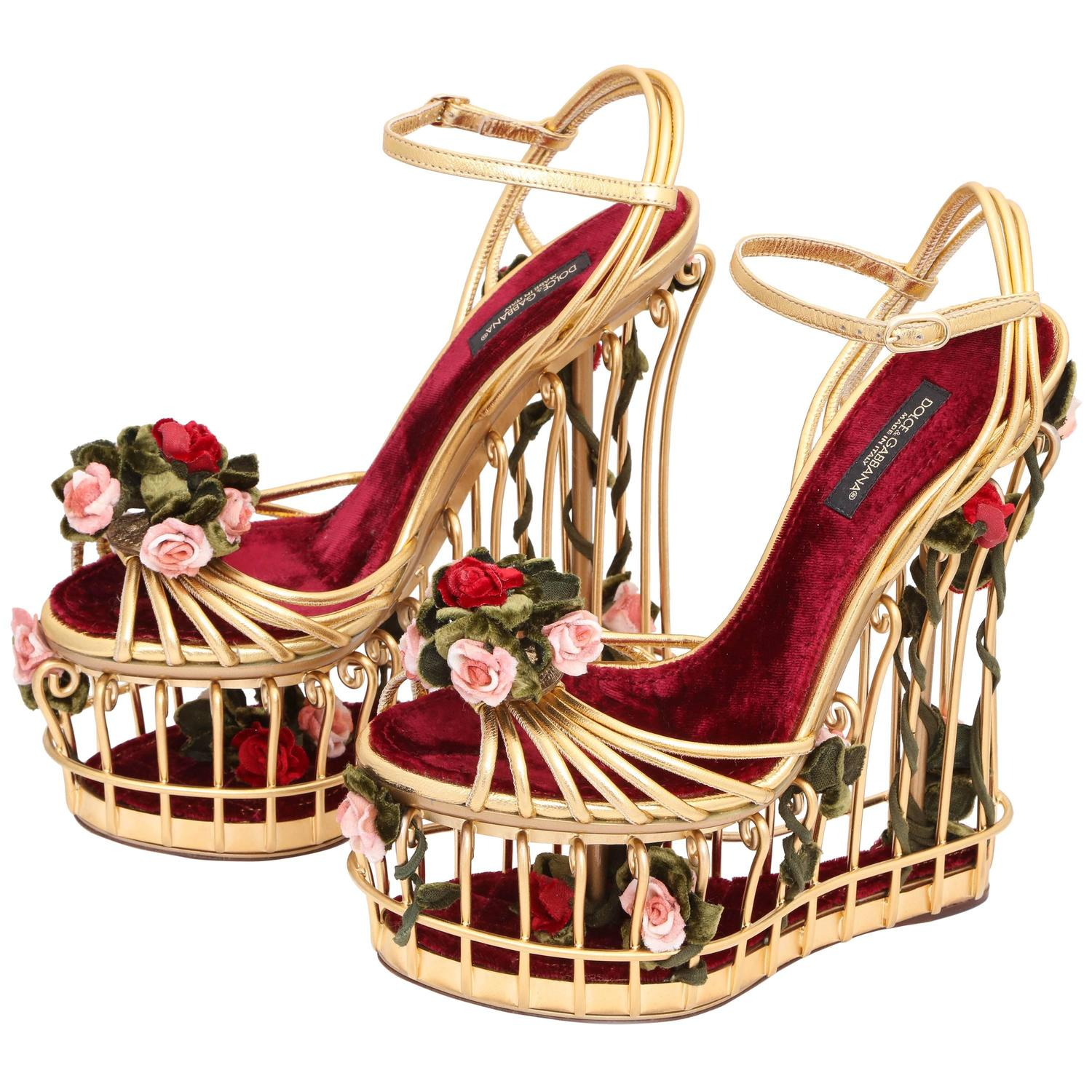 dd70abf960 Very rare Dolce and Gabbana Runway Cage Heel Shoes Piece of Art! at 1stdibs