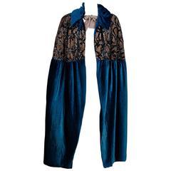 1920's Opulent Sapphire-Blue Deco Sequin Silk-Velvet Flapper Formal Coat Cape