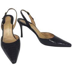 Rene Mancini glazed black alligator sling back high heel pumps 37M