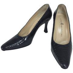 Rene Mancini black alligator high heeled pumps 37