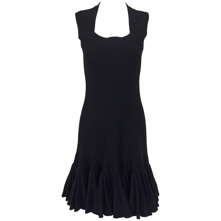 Azzedine Alaia black knit dress with felted wool knife pleated hem 1