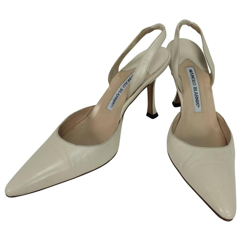Manolo Blahnik bone leather sling back high heel pumps 36 1/2 M