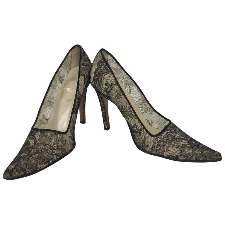 "Christian Dior Black Chantilly Lace high heeled pumps 36 1/2"""