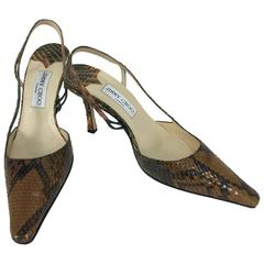 Jimmy Choo warm caramel & moss green snake skin sling back pumps 38 1/2 M