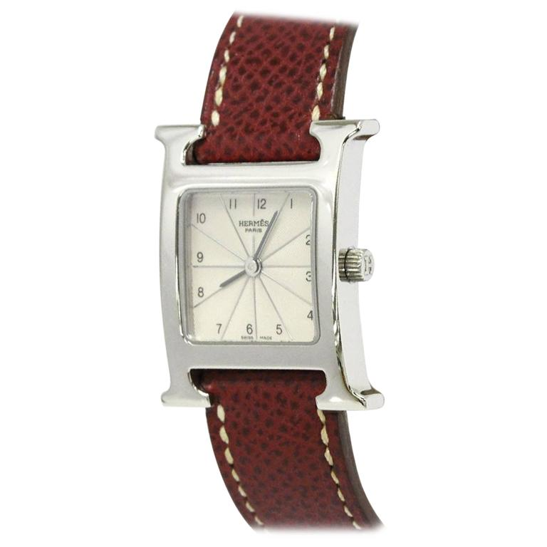 hermes h leather stainless steel s s unisex