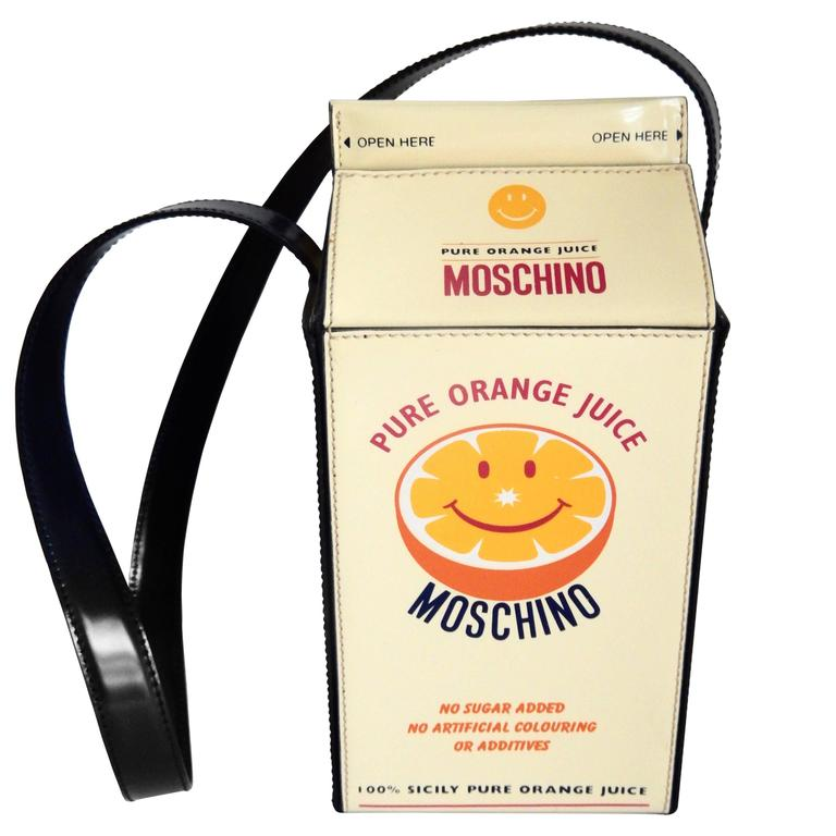 "1990s Moschino  Pop Art ""Orange Juice Carton"" Leather Handbag 1"