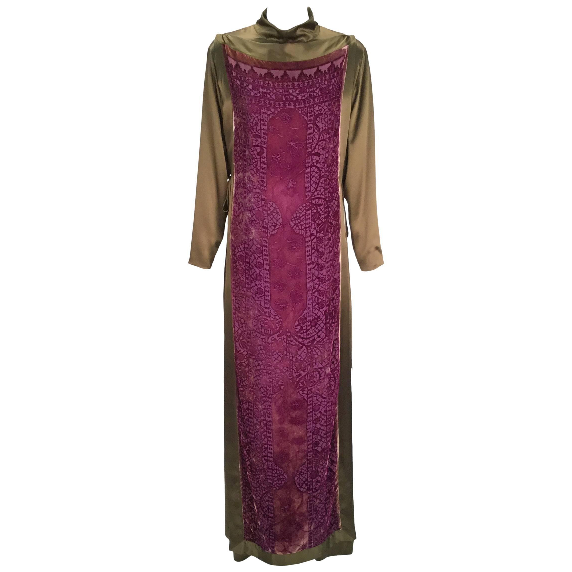1990s Sylvia Heisel Olive Green Kaftan w/ Purple Silk Burnout Overdress