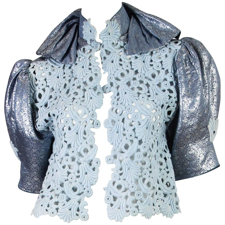 Thierry Mugler Lace and Metallic Top