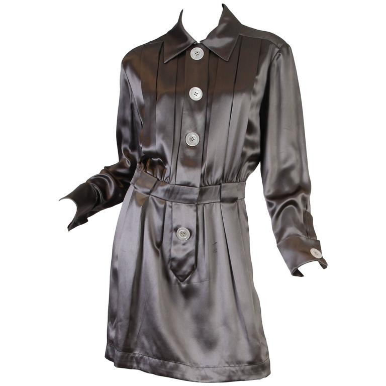 Chanel Boutique Luxe Satin Shirt Dress