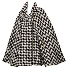 Moschino Vintage Black + White Mohair Wool Houndstooth Cape Coat