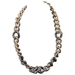 LANVIN Gold & Silver Metal GOURMETTE NECKLACE Chunky Chain Link w/ Crystals