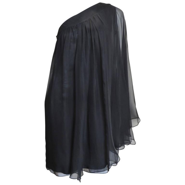 Christian Dior One Shoulder Silk Caftan Dress