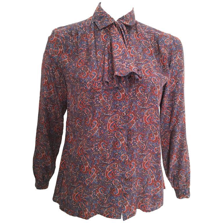Salvatore Ferragamo Silk Paisley Blouse Size 6.