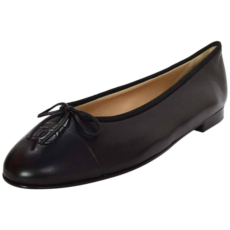 Chanel New Black Leather Ballet Flats Sz 42 For Sale At