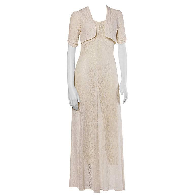 Vintage 1930s 30s Sheer Lace Wedding Maxi Dress with Matching Bolero Jacket