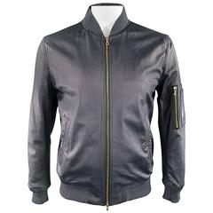 PS by PAUL SMITH 42 Navy Leather Gold Zip Bomber Jacket