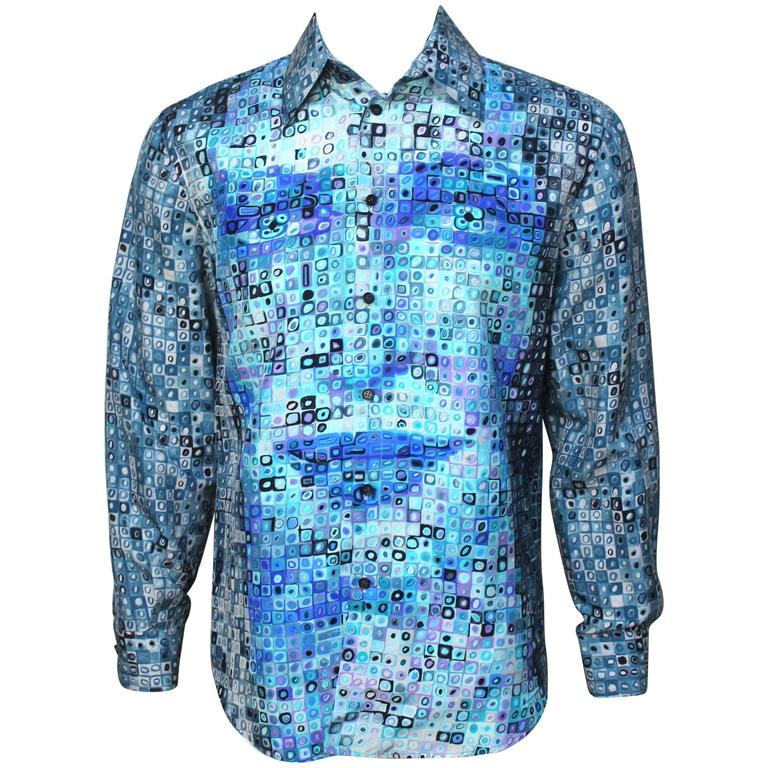 Mens Gianni Versace Couture Silk Portrait Shirt 1