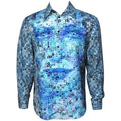 Mens Gianni Versace Couture Silk Portrait Shirt
