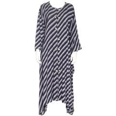 Issey Miyake Striped Asymmetrical Dress