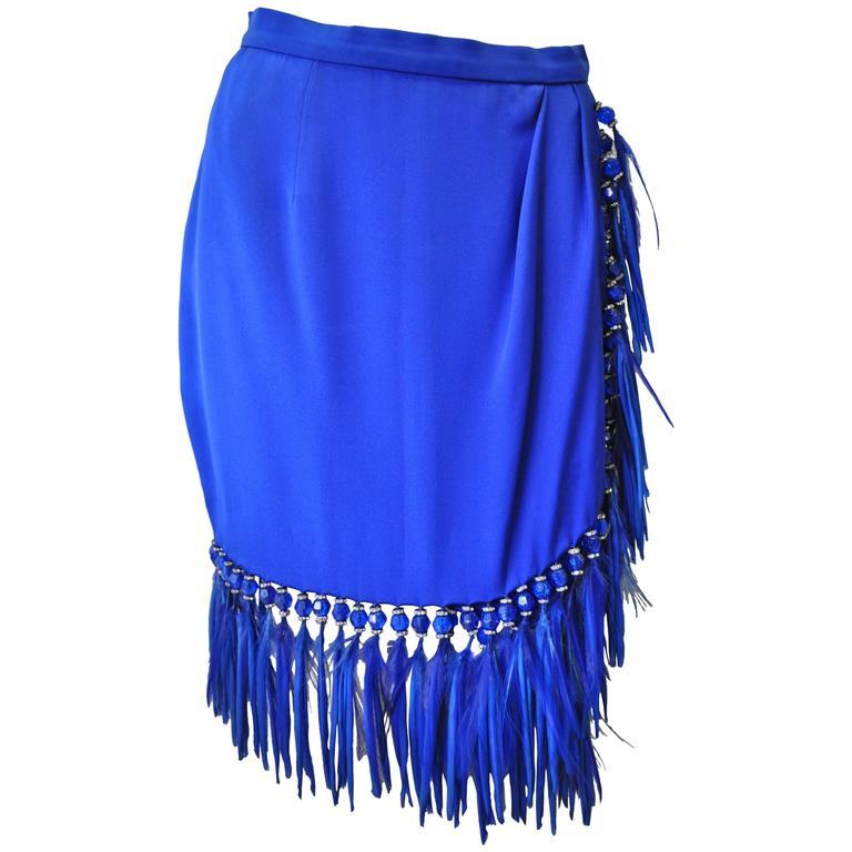Atelier Versace Silk Bead Maribou Skirt