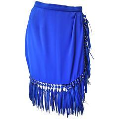 Stellar One of Kind Atelier Versace Silk Bead Maribou Skirt
