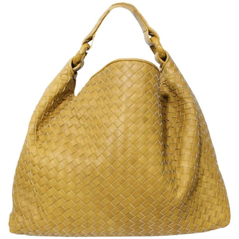 f457d896b8 Bottega Veneta Woven Golden Yellow Hobo Handbag
