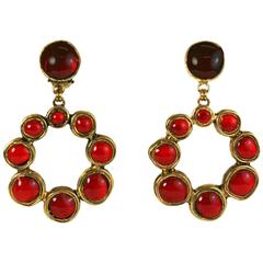 Chanel Ruby Baroque Hoop Pate de Verre Earclips
