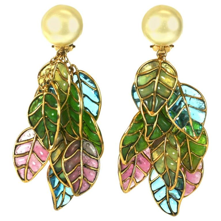Chanel Pearl and Pastel Pate de Verre Leaf Earclips, Gripoix,  1