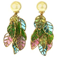 Chanel Pearl and Pastel Pate de Verre Leaf Earclips, Gripoix,