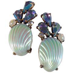 Elsa Schiaparelli Earrings Blue Shell Clip-Ons