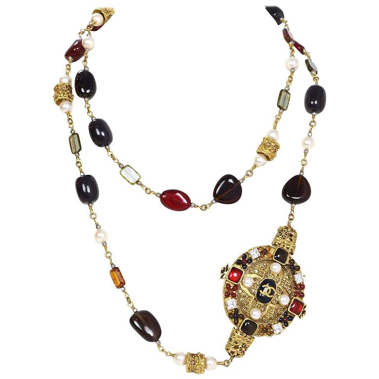 Chanel Multi-Colored Stone and Pearl Long Necklace For ...